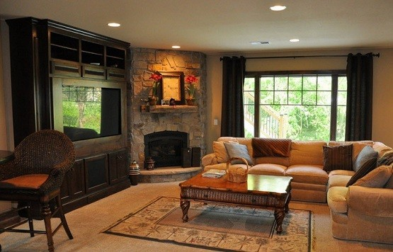 Corner fireplace design ideas with natural stone
