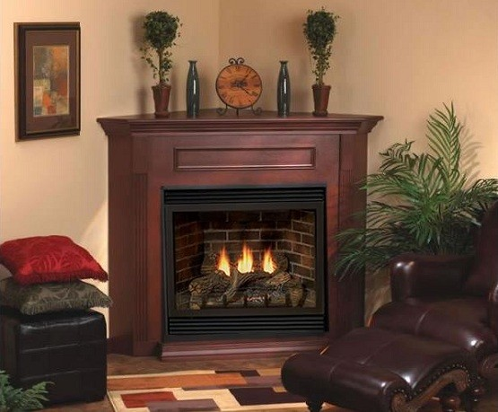 corner fireplace design ideas with painted wood mantel - Corner Fireplace Design Ideas