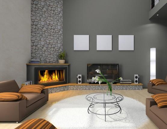 Corner fireplace design ideas with wood mantel shelf