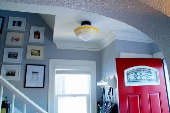 Entryway with vintage flush mount lighting