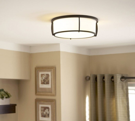 Fabric shade vintage flush mount lighting for bedroom