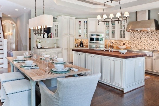 Farmhouse Dining Room Lighting Idaes In White Kitchen