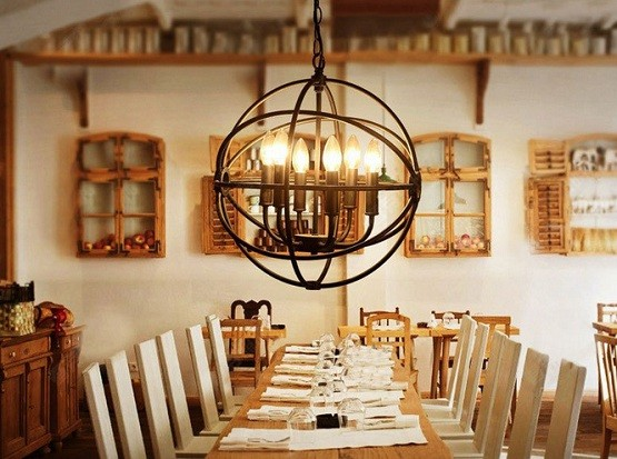 Awesome Globe Wired Rustic Lighting For Dining Room