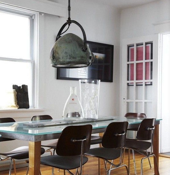 Industrial Dining Room Lighting Design And Glass Top Table