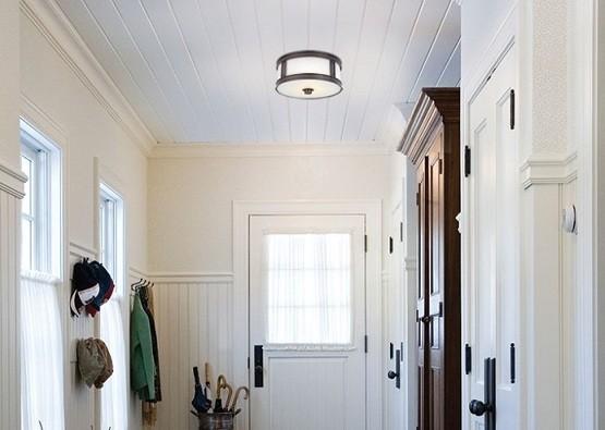 Industrial flush mount ceiling light for hallways