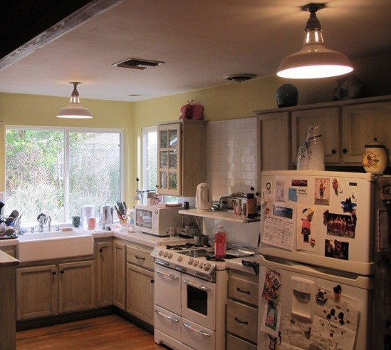 Industrial flush mount ceiling light for small kitchen