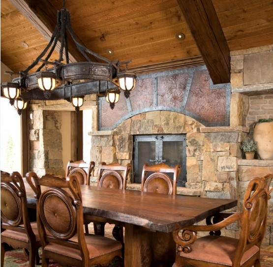 Six light rustic lighting for dining room with dramatic design
