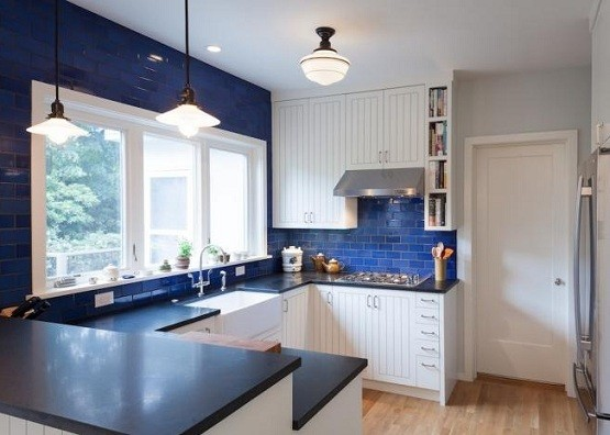 White and blue kitchen with vintage flush mount lighting