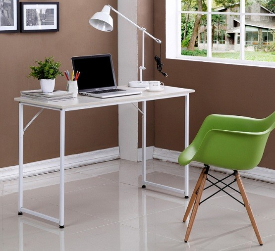 White minimalist computer desk with unique chairs