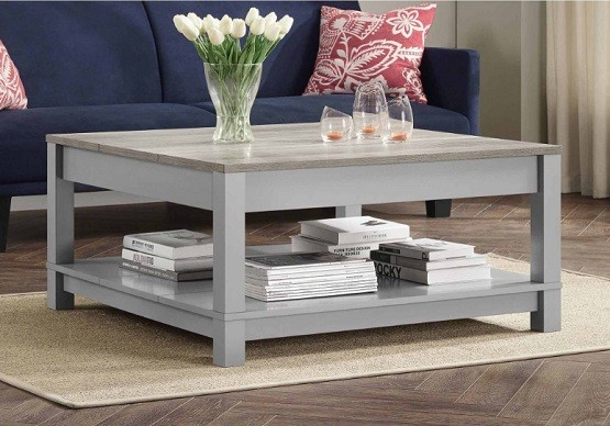 Average coffee table dimensions with gray finish