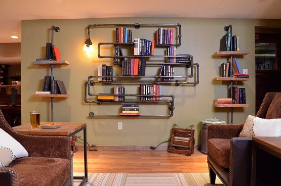 Cool industrial pipe shelves ideas