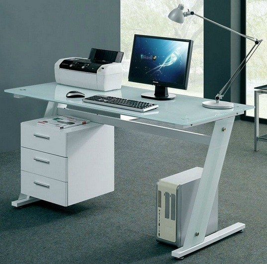 Cool computer desks for various use home interiors Designer glass computer desk