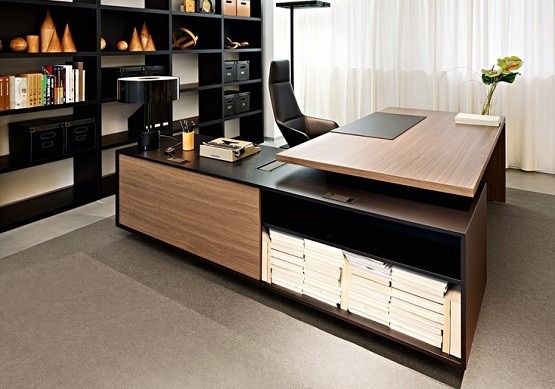 Custom l shaped home office desk