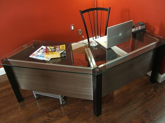 Custom desks for office with glass top
