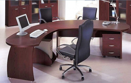 Custom desks for office with stainless steel chairs
