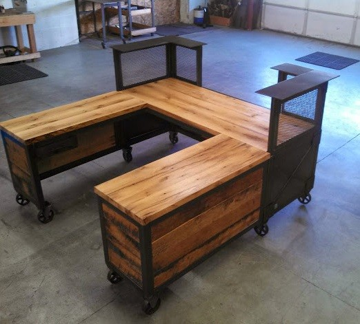 Custom reclaimed wood steel desk with u shaped design