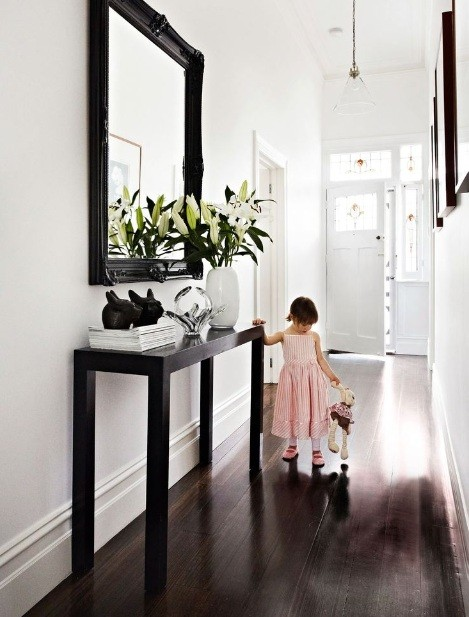 Tall Hallway Table Option for Your Narrow Spaces  Black tall hallway table  with simple design