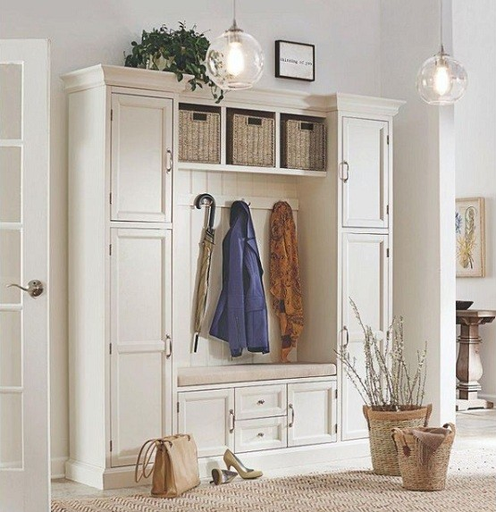 White Hall Trees With Storage For Functional Entry Hallway Furniture