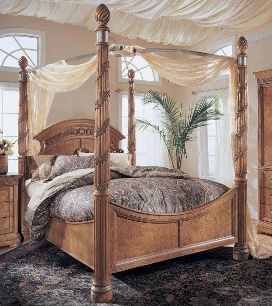 Wood Canopy Bed Design With Light Brown Finishes Home