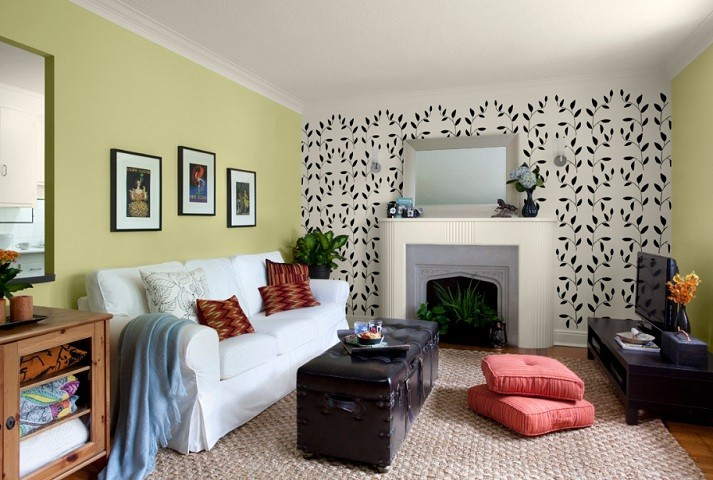 Light Green Accent Wall Color With Decorative Sticker In Living Room