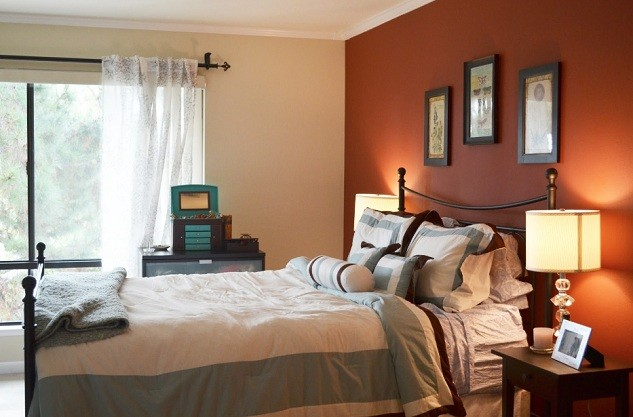 Light Maroon And Light Brown Accent Wall Color For Bedroom