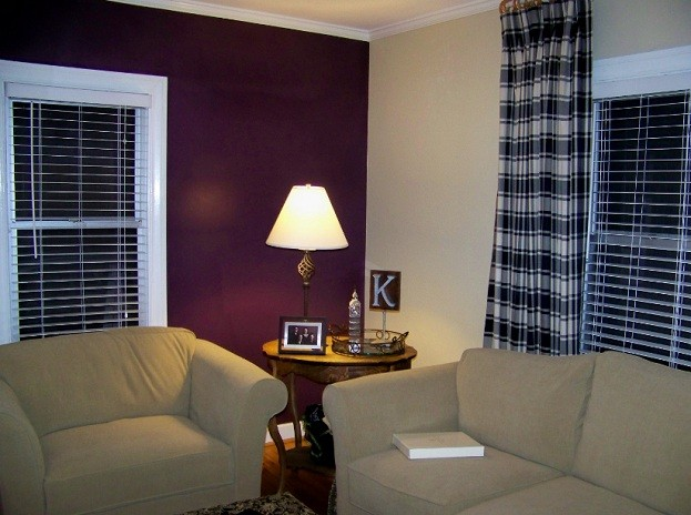 Purple and brown accent wall color for living room home interiors Purple accent wall in living room