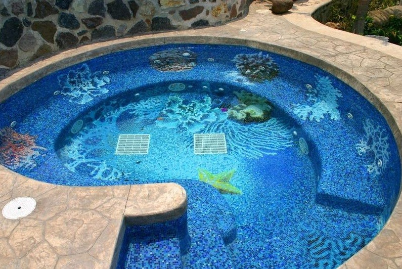 Decorative pool tiles design for small pools