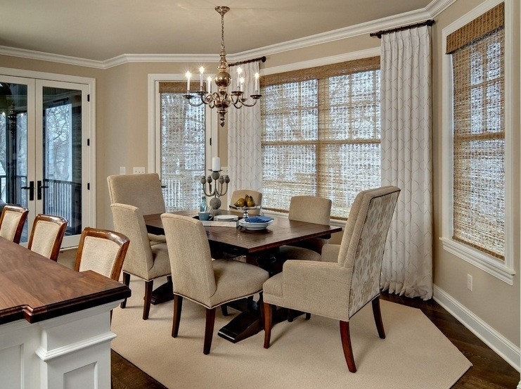 Charming Dining Room Window Treatments Ideas With Warm Color