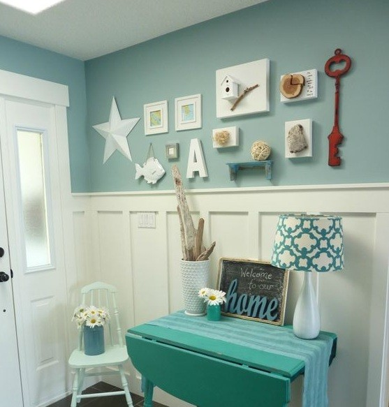 beach themed wall decor ideas in laundry room home interiors