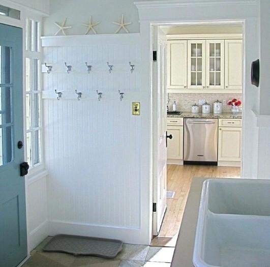 Coat hooks for beach themed laundry room decor   Home Interiors
