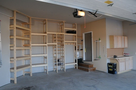 Easy To Follow Garage Shelving Instructions » Custom Garage Shelving Design  With 2×4 Boards