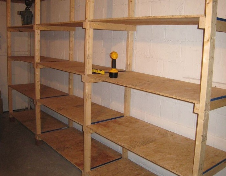 Diy garage shelving design with plywood