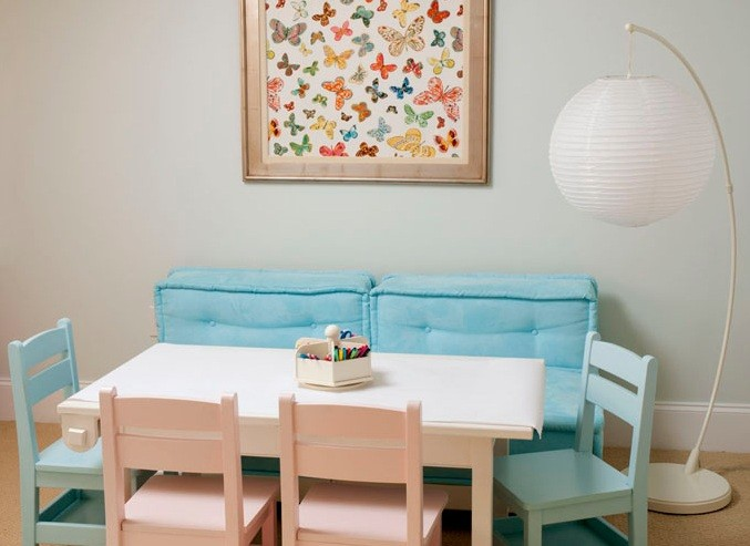Playroom seating ideas with play table for six kids | Home Interiors