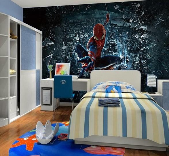 20 Spiderman Bedroom Ideas For Boys Room » Spiderman Bedroom Ideas With 3d  Spiderman Wallpaper
