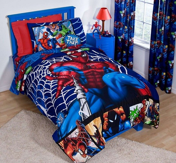 Spiderman bedroom ideas with spiderman bedding sets and for Spiderman bedroom designs