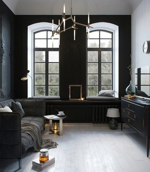 Simple black living room with minimalist furniture design for Home decor drawing room