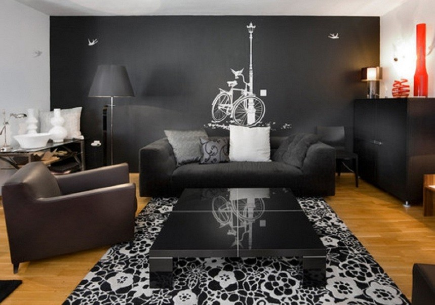 Simple black living room with wall mural decor home for Home decor drawing room