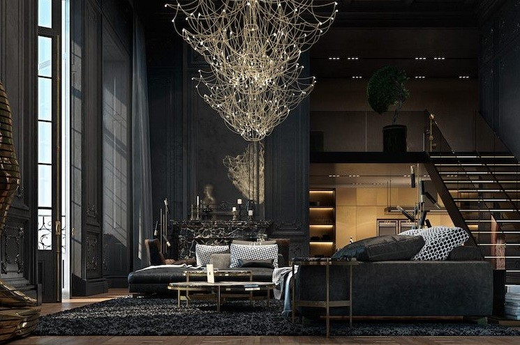 Simple Black Modern Gothic Living Room Style Home Interiors