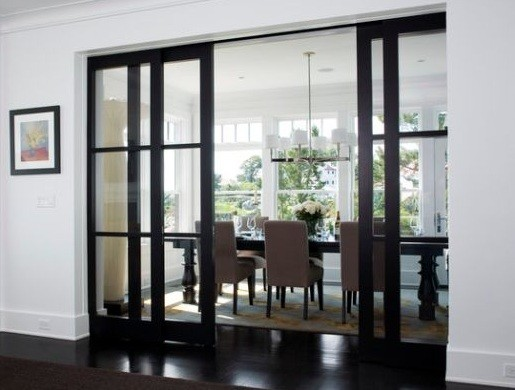 Black Painted Interior Sliding French Doors With Clear Glass Panels