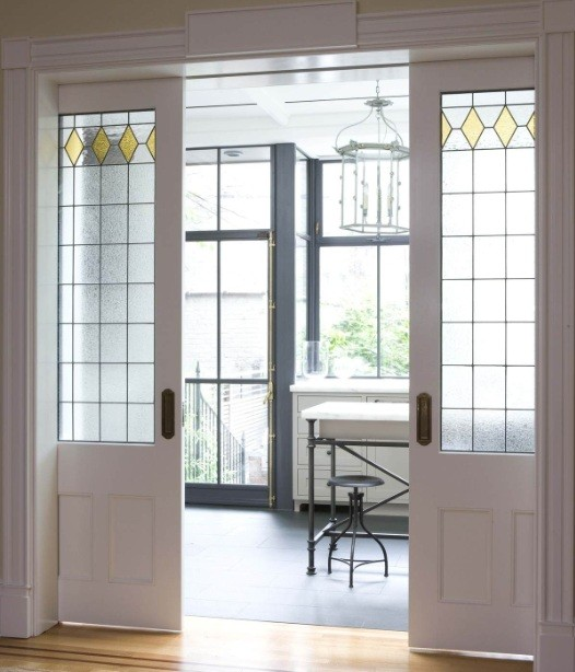 White Interior Sliding French Doors With Etched Glass Panels Home