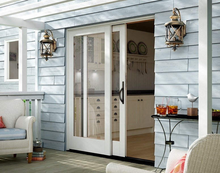 White Single Interior Sliding French Doors With Full Glass Panels