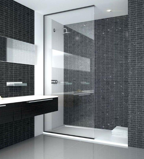 Black And White Small Walk In Shower No Door With Fixed Glass