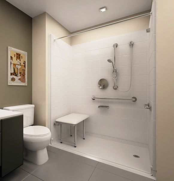 Walk in shower with seat design for elderly