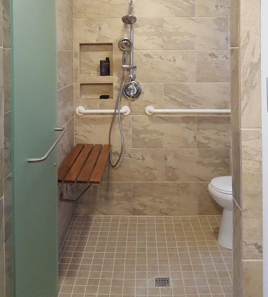 Walk In Shower With Wooden Seat For Elderly