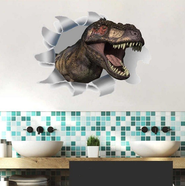 Dinosaur 3d Wall Stickers For Bathroom Decor