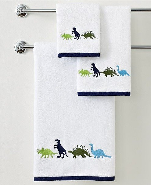 Dinosaur Bathroom Towels With Stainless Steel Holder