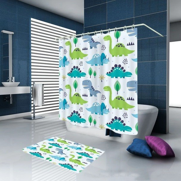 Dinosaur Curtain Theme For Bathroom Decoration