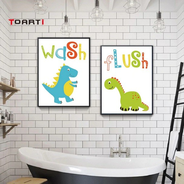 Large Dinosaur Bathroom Wall Art Ideas