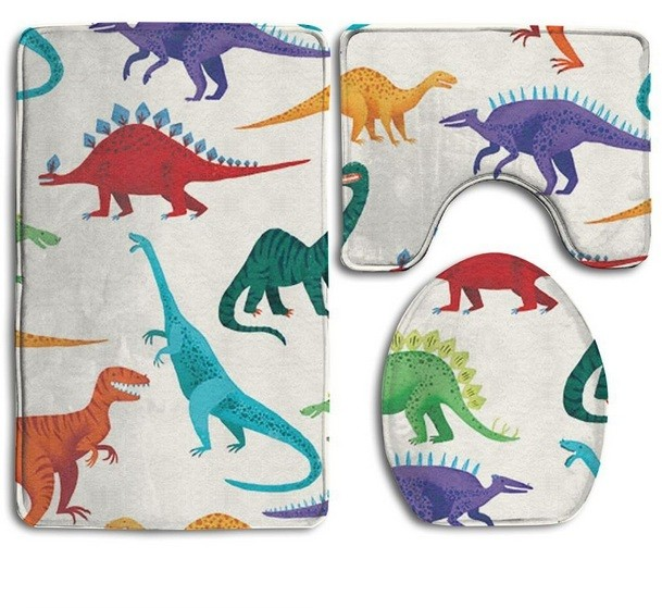 White Gray Dinosaur Shower Mat Set For Kids Bathroom Decoration